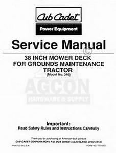 Cub Cadet 38 Inch Mower Deck Tractor Service Manual 346