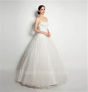 Elegant Ball Gown Strapless Tulle Lace Applique Wedding ...