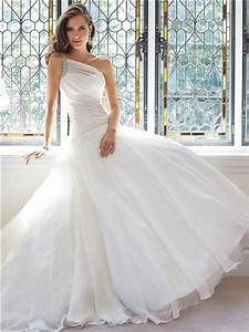 Romantic Ball Gown One Shoulder Organza Draped Wedding