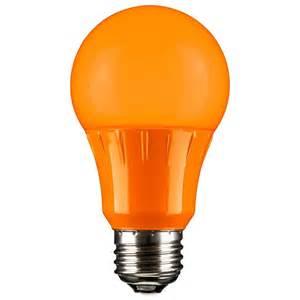 orange led a19 120 volt e26 medium base party light bulb