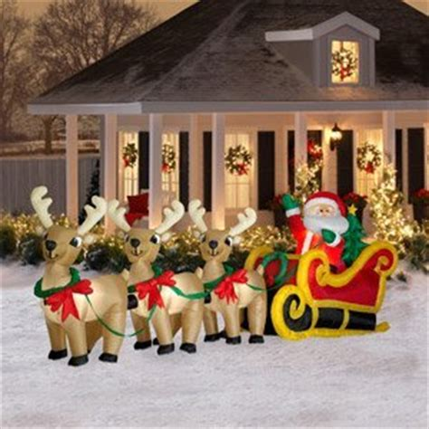 amazon com christmas decoration lawn yard inflatable airblown santa sleigh with 3 reindeer 16
