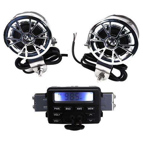 12v Waterproof Motorcycle Fm Radio Stereo Speakers Sound
