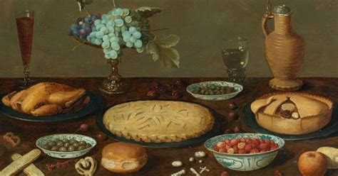 17th century cuisine unknown flemish still with pies and roast