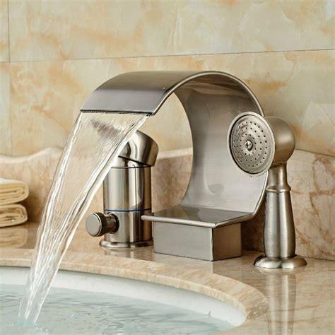Shower Tub Plumbing by Brushed Nickel Waterfall Bathroom Tub Faucet 3 Pcs