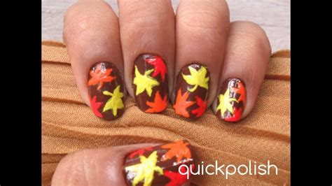 easy autumn leaves maple leaves nails youtube