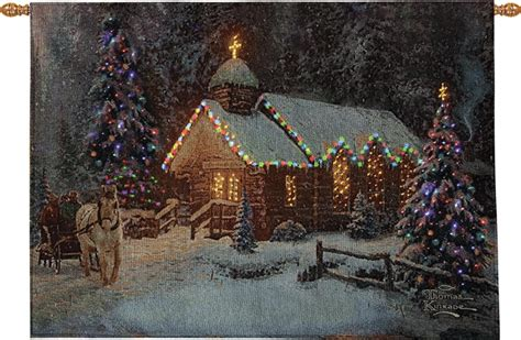thomas kinkade christmas chapel fiber optic tapestry