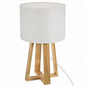 Lampe A Poser Scandinave : lampe poser en bois scandinave 35cm blanc ~ Melissatoandfro.com Idées de Décoration
