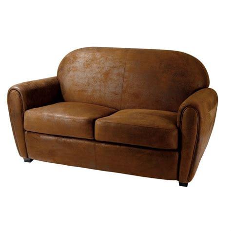 canap 233 club microfibre marron 2 places achat vente canap 233 sofa divan panneaux de