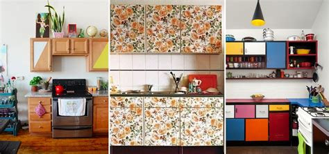 wallpaper inside kitchen cabinets 10 easy ways to give your rental kitchen a makeover 6sqft