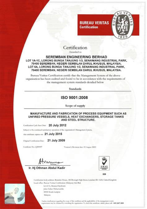 bureau veritas certification bureau veritas certification seremban engineering berhad