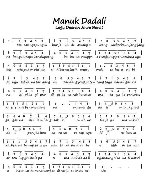 lagu pileuleuyan beserta not angka not angka lagu manuk dadali lagu daerah jawa barat