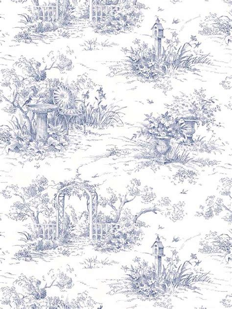 Waverly Blue Toile Wallpaper Wallpapersafari