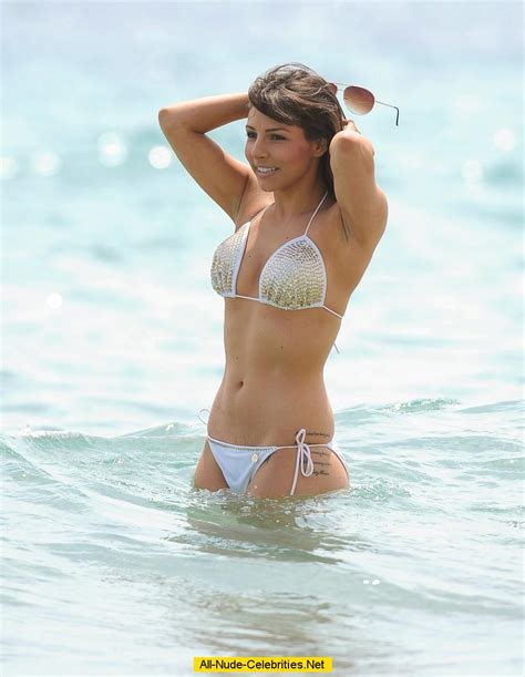 Roxanne Pallett touch her boobs in bikini
