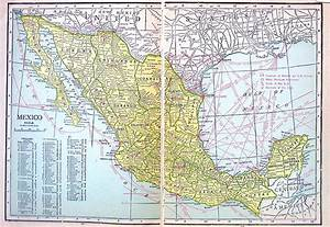 Old Vintage Map Large 1921 Map of Mexico Print World Map