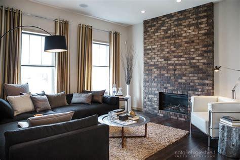 modern living room stripes brick metal industrial modern living room by Industrial