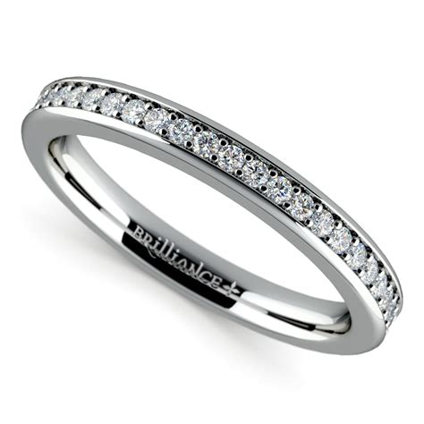 pave diamond wedding ring in white gold