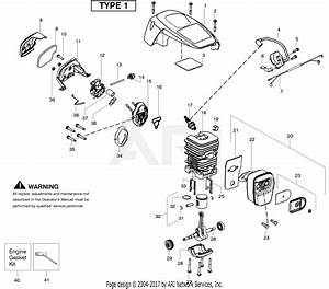 Poulan Ppb3416 Gas Saw Type 1 Parts Diagram For Engine Type 1