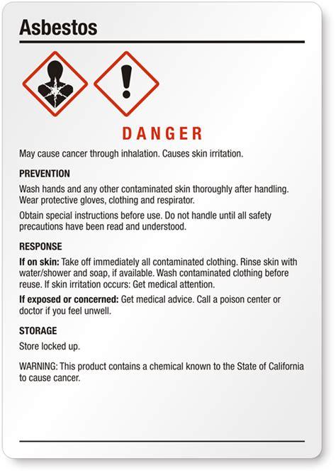 medium ghs asbestos label sku ghs
