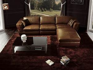 Luxury living room interior design with glossy brown l for Leather sofa designs for living room