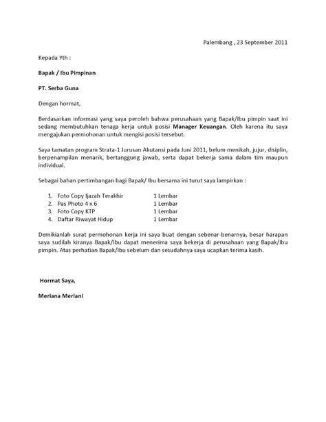 Contoh Cover Surat Lamaran Kerja by Surat Lamaran Kerja Fresh Graduate Bahasa Indonesia