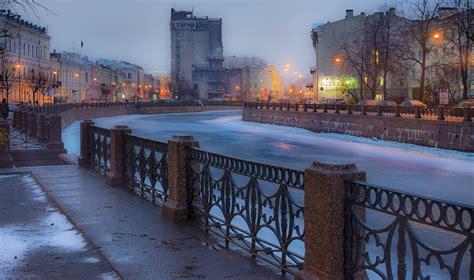 st petersburg peter russia river winter spb night piter