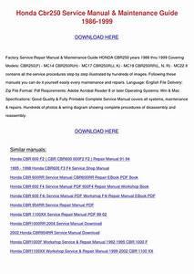 Honda Cbr250 Service Manual Maintenance Guide By