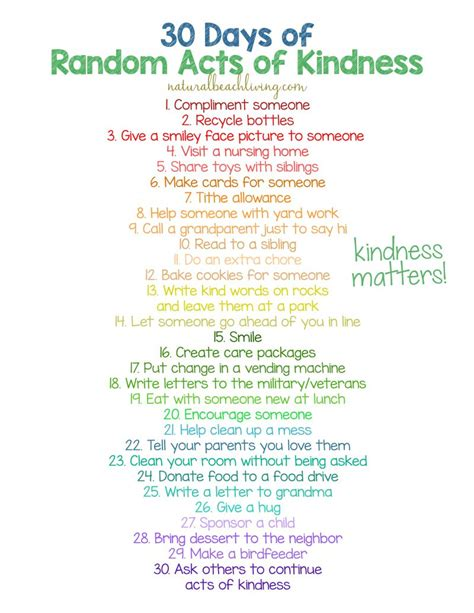 days  random acts  kindness ideas  kids
