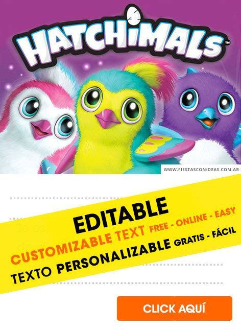 hatchimals birthday invitations  edit