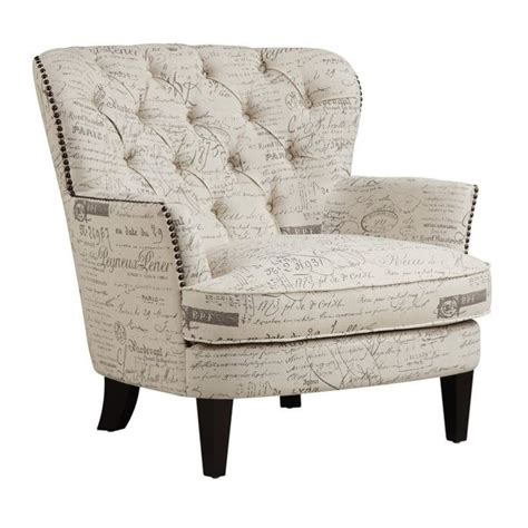 pri upholstered accent arm chair in script beige
