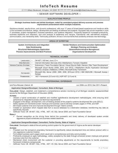 Resume Title For Senior Software Engineer by It Resume Sles Infotechresume