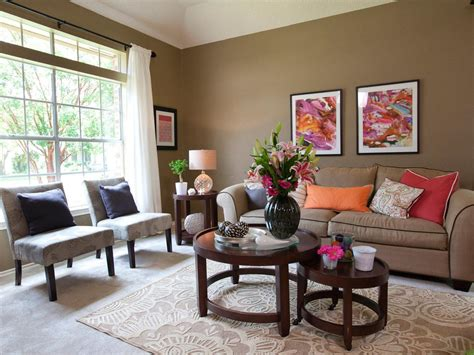 lively living room features    earthy taupe