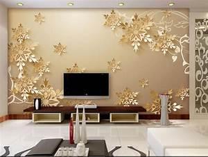 Golden snowflakes 3D room wallpaper beautiful bedroom ...