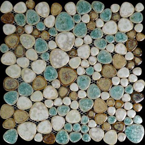 copper backsplash tiles porcelain tile pebbles random bricks glazed ceramic mosaic