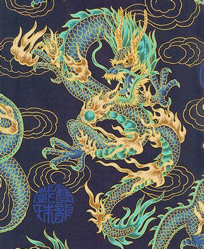 fire breathing dragons navy blue asian japanese fabric   yard cheryl japanese dragon