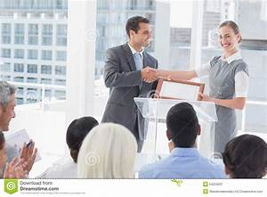 Business People Receiving Award Stock Image