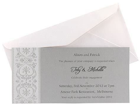 Flourish Hearts in silver Engagement Invitation