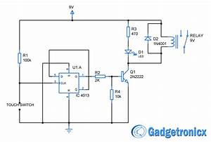 Touch Switch Circuit Diagram Using Flip Flop