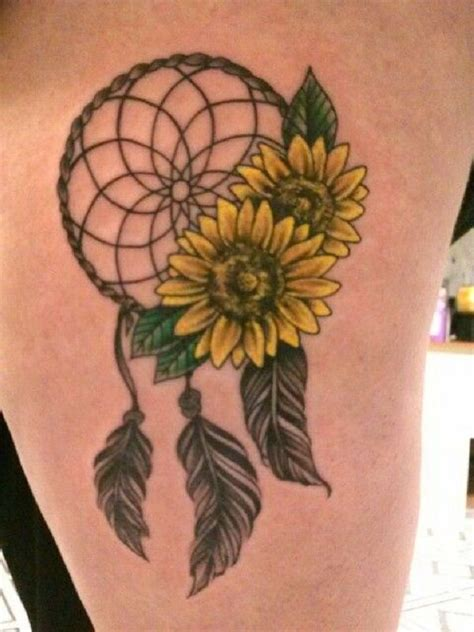 sunflower tattoo ideas thigh tattoos dream catcher tattoo tattoos sunflower tattoo design