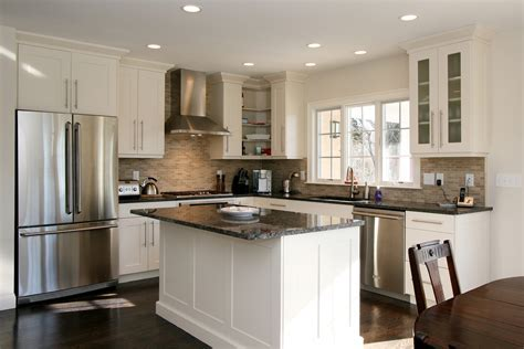 Dark grey marble countertop for white kitchen island with