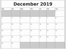 December 2019 Printable Calendar yearly printable calendar