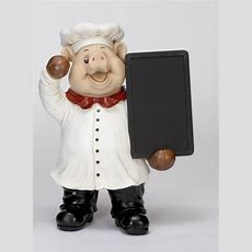 Large Polyresin Pig Chef Statue With Chalk Board Kitchen