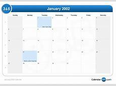 January 2002 Calendar