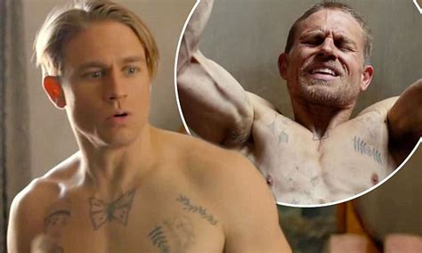 shirtless charlie hunnam shows   muscles  papillon