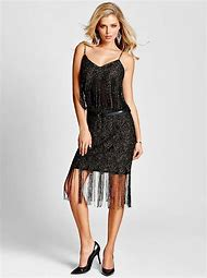 Sleeveless Dress Metallic Fringe