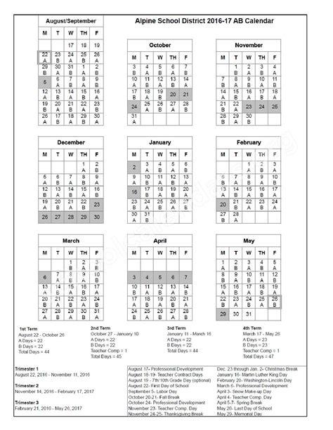 district ab calendar alpine school district american