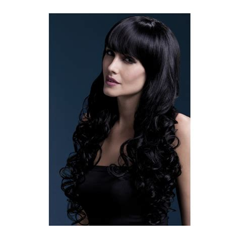 longue perruque boucl 233 e noir avec frange