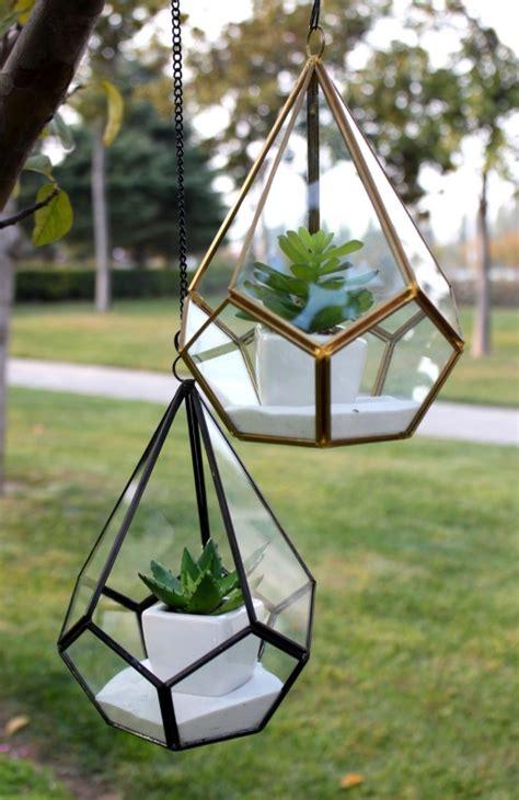 triangular geometric glass pannel terrarium fresh garden
