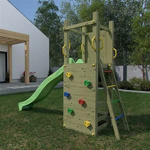 Aire De Jeux Pour Jardin : portique en bois pour enfants avec toboggan vert ~ Premium-room.com Idées de Décoration