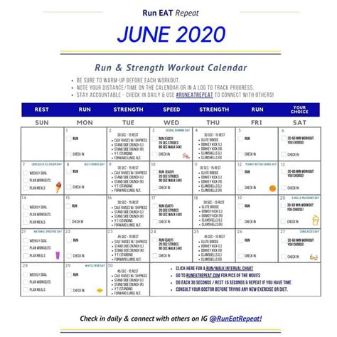 21 cute and free printable weekly calendars — perfect for planning your to do list, workouts, blogging, home projects, and much more! June Running Calendar free printable workout - Natural ...