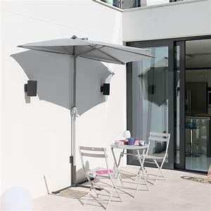 Parasol De Balcon Inclinable : demi parasol de balcon s r na gris hesp ride 2 7 m ~ Premium-room.com Idées de Décoration